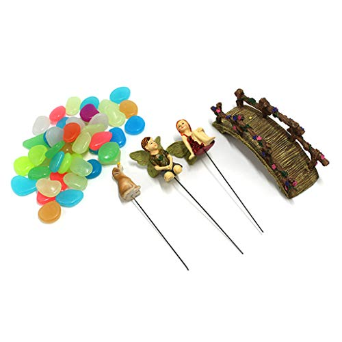 liaobeiotry Mini Boy Girl - Figura decorativa de Micro Landscape Bridge en miniatura con piedras luminosas