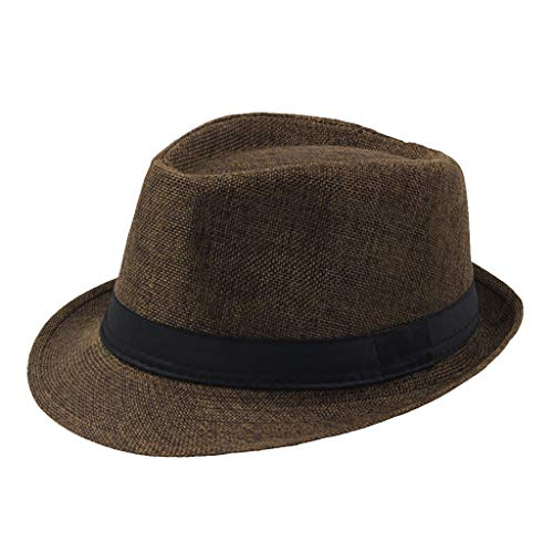 jieGorge Jazz Hat Men's Breathable Linen Top Hat Outdoor Sun Hat Curl Straw Hat, Hat, Clothing Shoes & Accessories (Coffee)