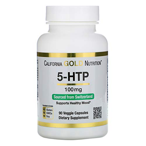 California Gold Nutrition 5-HTP Mood Support Griffonia Simplicifolia Extract from Switzerland 100 mg 90 Veggie Caps, Fish-Free, Gluten-Free, Milk-Free, Peanut Free, Soy-Free, Shellfish Free, CGN
