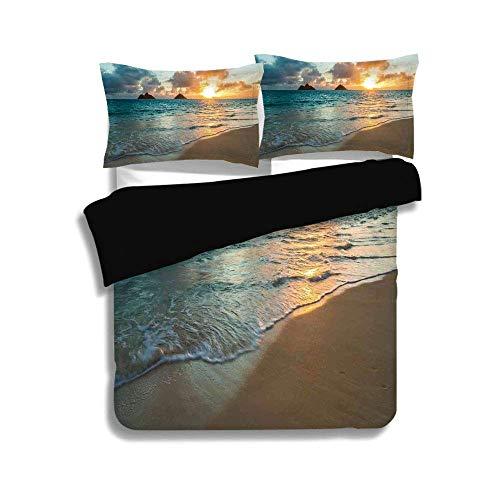 Ensemble de housse de couette noir, hawaïen, lever de soleil pittoresque sur les rochers de l'océan, nuages de sable, rayon de soleil Side Team, rayon de soleil Seashore, jaune turquoise, ensemble d