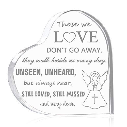 N/D Memorial Plaques Regalos para la pérdida de un amor, forma de corazón de cristal Breavement Gfit, regalo de ángel grabado