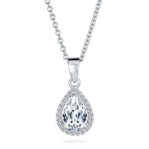 925 plata de ley victoriano vintage estilo delicado pera nupcial forma clara solitario cúbico Zirconia AAA CZ Halo 5CT Teardrop colgante collar para las mujeres