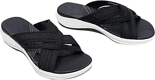 Stretch Cross Orthotic Slide Sandals, Women's Platform Slippers Sandals Summer Casual Sandals (Black,US 12/EU 43)