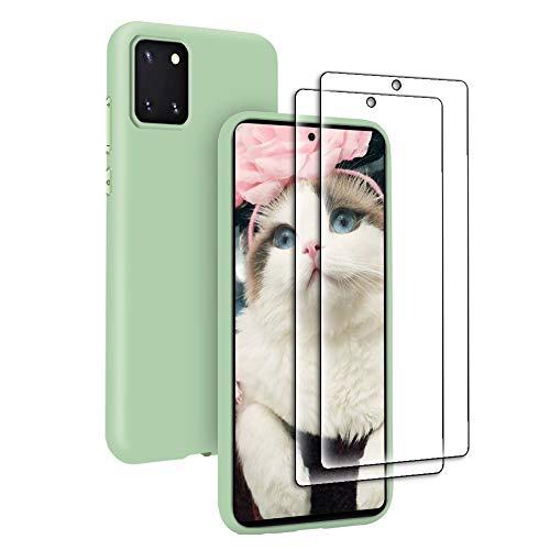 Funda Líquida para Samsung Galaxy Note 10 Lite + 2* Cristal Templado Protector de Pantalla, Carcasa Líquido Ultra Delgado Suave TPU Silicona Anti-Rasguño y Resistente Protectora Caso - Verde