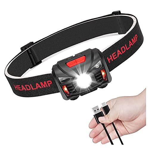 sdfkj Lampada Frontale LED USB Ricaricabile 1200 mAh, Lampada Testa IPX4 Impermeabile Luce Frontale Adatto a Bambini e Adulti,Campeggio,Corsa,Pesca,Ciclismo