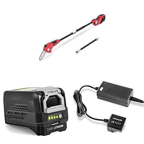 GREENCUT Podadora de Altura telescopica bateria Litio 40 V + Cargador para baterias de Litio + Bateria de Litio Recargable de 40V