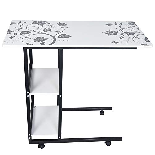 Foldable Overbed Table with Wheels, Mobile End Table Height...
