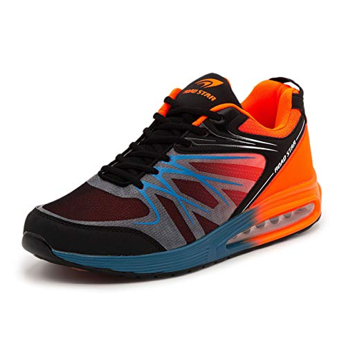 LEKANN No.308 Herren | Sportschuhe Turnschuhe Laufschuhe Sneaker | mit Dämpfung und rutschfest | Blau-Orange Gr. 43 EU