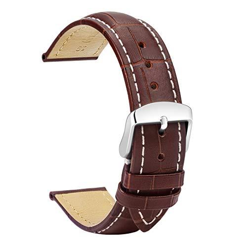 TStrap Reloj Correa Cuero 19mm - Reemplazo De Correa Suave Marrón - Correa Deportiva para Hombre Mujer - Plata Hebilla Cierre de Pulsera de Relojes Inteligentes - 18mm 20mm 22mm