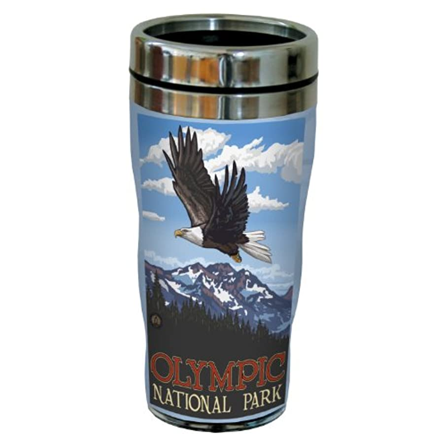 Tree-Free Greetings sg23253 Patriotic Olympic National Park Bald Eagle Soaring by Paul A. Lanquist Stainless Steel Sip 'N Go Travel Tumbler, 16-Ounce