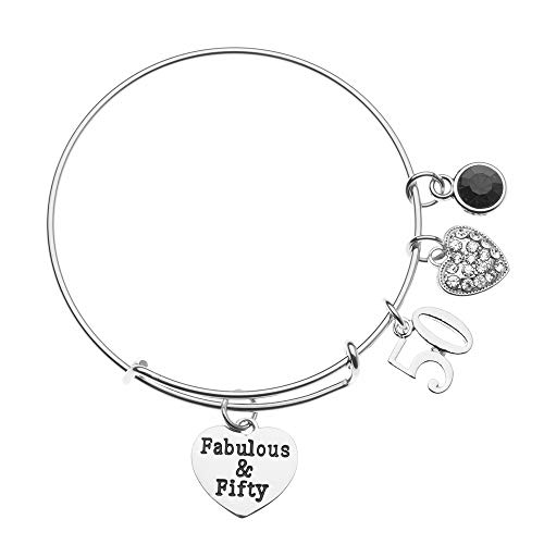 Infinity Collection 50th Birthday Gifts for Women, March 50th Birthday Expandable Charm Bracelet with Birthstone Charm, Adjustable Bangle, Perfect 50th Birthday Gift Ideas (March)
