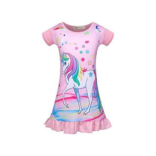 Niños Niñas Camisones de Unicornio Manga Corta Camisón Estampado con Arco Iris Pijama Camisón Ropa de Dormir 3-8Y Rosa Rosa