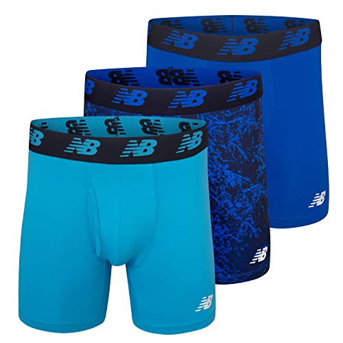 New Balance Men's 6' Boxer Brief 3-Pack, Cadet/Team Royal/Royal, Large(36-38')