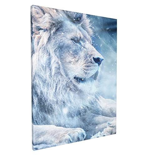 BCCYZ Lion Snow Lying Down Canvas Prints Framed Wall Art for Living Room Bedroom Bathrooms Decor 12x16