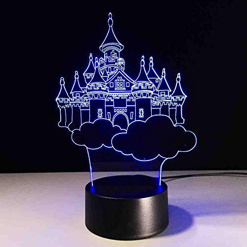 CDBAMX novelty Mode 7 Changement de Couleur 3D Château Fantasy Dans Le Ciel Lampe De Table Enfant Enfant Chambre Décor Veilleuse Friend Anniversaire Cadeaux