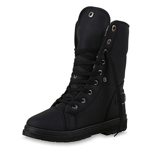 SCARPE VITA Warm Gefütterte Damen Stiefeletten Worker Boots Outdoor Schuhe 150384 Schwarz Schnallen 38