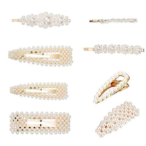 GCOA 8 Pezzi Perle Artificiali Forcina Barrette per Capelli Mollette Decorativo Nuziale Capelli Clip Accessori per Ragazze Donne Matrimonio