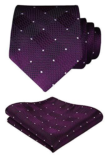 Hisdern HISDERN Extra Long Check Krawatte Taschentuch Herren Krawatte & Einstecktuch Set Lila und Wei?