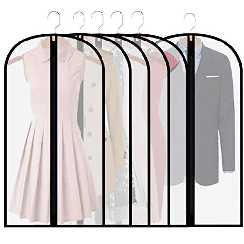 homeminda Garment Bags Clear 6packs 48in Moth Proof Dust Covers Hanging Lightweight Breathable with Study Full Zipper for Coats Dress Sweater Storage and Wardrobe