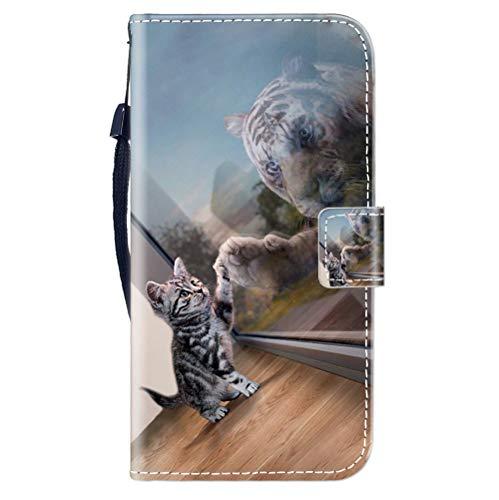 Sunrive Kompatibel mit Oppo F1 Plus/R9 Hülle,Magnetisch Schaltfläche Ledertasche Schutzhülle Etui Leder Hülle Handyhülle Tasche Schalen Lederhülle MEHRWEG(Tiger Katze B1)