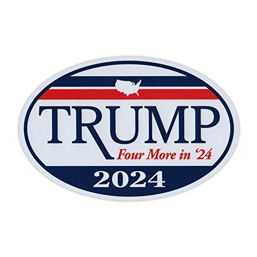 Oval Shaped Magnet - Donald Trump for President 2024 - Four More in '24 - Republican Party Magnetic Bumper Sticker - 6