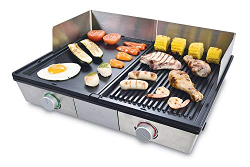 Solis Deli Grill 7951 Tischgrill - Elektrogrill - Inklusive Spritzschutz und 2 Spachteln - Edelstahl