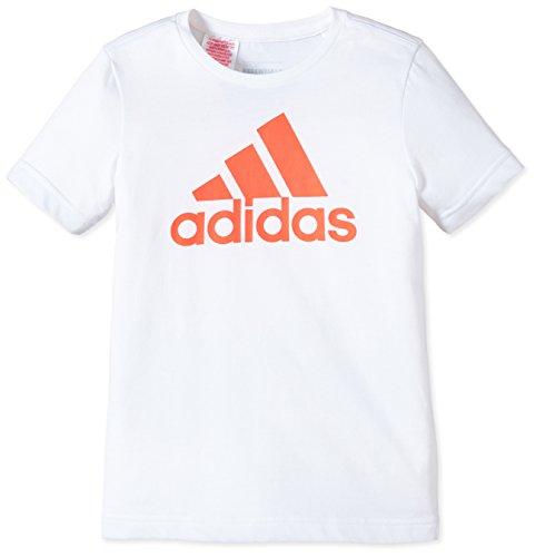 adidas Jungen T-Shirt Essentials Logo, White/Solar Red, 140