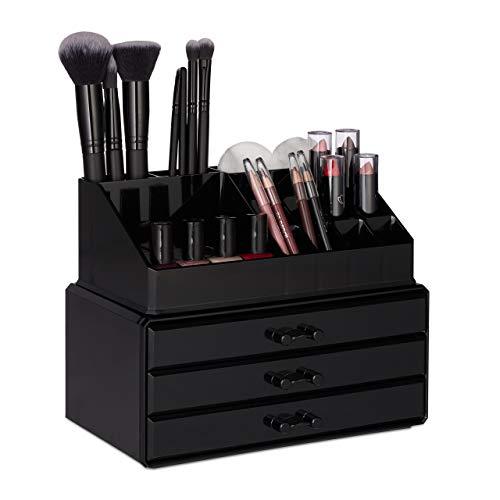 Relaxdays, schwarz Make Up Organizer klein, 2-teilige Schminkaufbewahrung mit Schubladen, stapelbares Kosmetikregal, Kunststoff, H x B x T: ca. 19 x 23,5 x 14 cm
