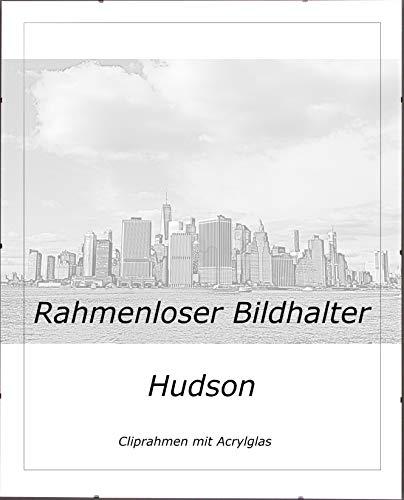 Bilderrahmen Hudson Rahmenloser Bildhalter Cliprahmen Bilderrahmen 45 x 30 cm Posterrahmen Wechselrahmen mit Hintergrundpapier Weiss und 1mm Kunstglas klar