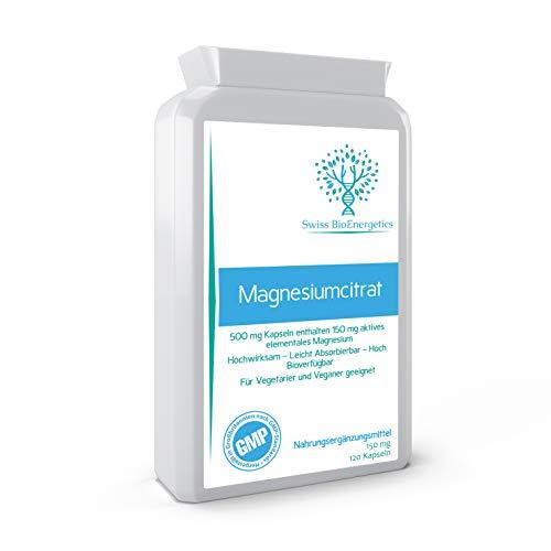 MagnesiumCitrat, 500 mg, 120 Kapseln – bietet 150 mg aktives Elemental-Magnesium, hohe Wirksamkeit – leicht absorbierbar – hochbiologisch verfügbar – hergestellt in Großbritannien