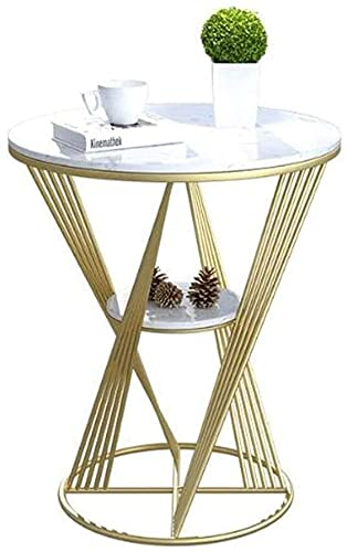 XUERUIGANG Mesa Final, Mesa de café de Acento Redondo, Mesa de mármol, Mesa de Noche de Mesa Moderna Mesa de Noche para Sala de Estar Balcón de Dormitorio, Decoración para el hogar, Easy Montaje