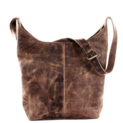 LECONI große Umhängetasche Damen Schultertasche praktische Ledertasche für Frauen Beuteltasche Vintage-Style Damentasche Shopper aus echtem Leder 34x34x11cm schlamm LE0055-wax