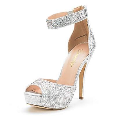 DREAM PAIRS Women's Swan-05 Shine Silver High Heel Platform Dress Pump Shoes - 8.5 M US