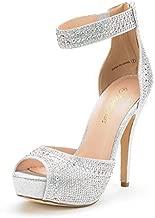 DREAM PAIRS Women's Swan-05 Shine Silver High Heel Plaform Dress Pump Shoes - 7 M US