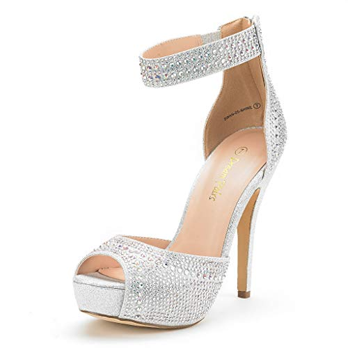 Dream Pairs Women's Swan-05 Shine Silver High Heel Plaform Dress Pump Shoes - 7.5 M US