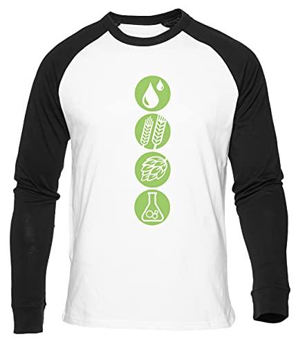 Cómo A Fabricar Cerveza Agua Cebada Lúpulo Levadura Camiseta De Béisbol Blanca para Hombre Mujer Unisex Manga Larga Cuello Redondo White Baseball Tshirt Unisex L