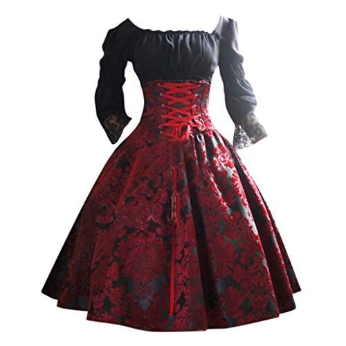 MEIbax Damen Vintage Punk Prinzessin Kleid Midi Dirndl Frauen Gothic Court Square Kragen Lace Taillenband Spleißen Trachtenkleid Abendkleider Cosplay Kostüm