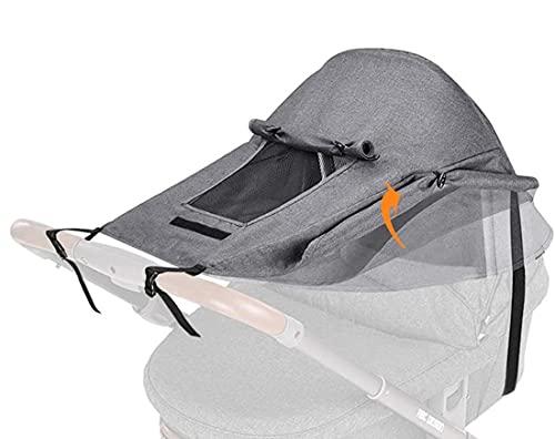 LXLUOO Parasol para cochecito de bebé, parasol para cochecito de bebé, con ventana para cochecito de bebé, protección UV, resistente al agua (gris)