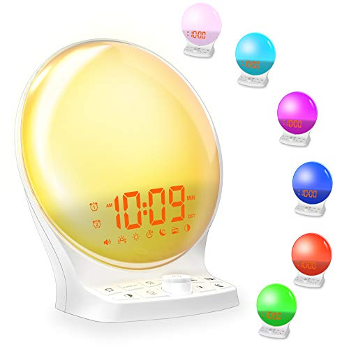 Smart Wake Up Light for Kids, 7 Color Night Light Alarm Clock with Sunrise/Sunset Simulation, Dual Alarm Clock with FM Radio,8 Natural Sounds and Snooze for Adults Bedrooms,Coin Battery Backup