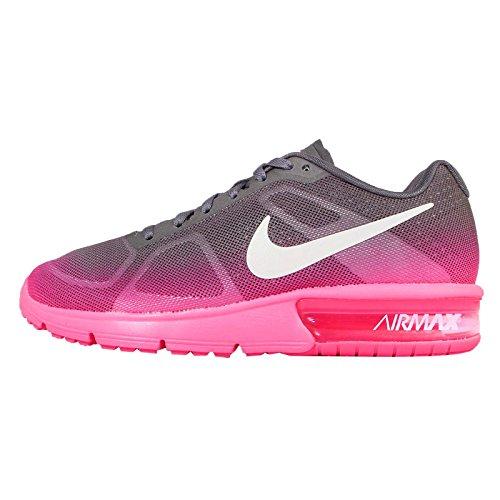 Nike Wmns Air Max Sequent, Scarpe da Trail Running Donna, Multicolore, Rosa (Hyper Pink), Bianco, Grigio Scuro Metallizzato, 602, 37.5 EU