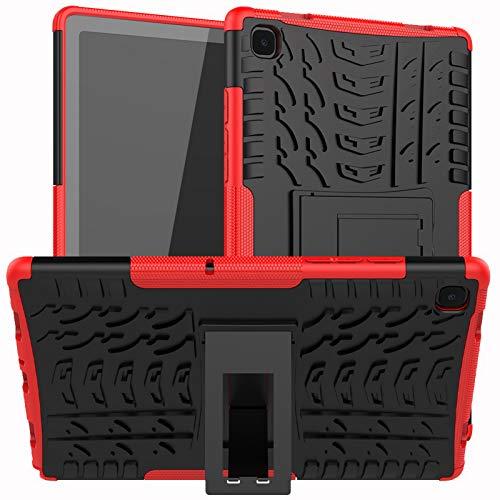 DWaybox Custodia per Tablet per Samsung Galaxy Tab A7 2020 10.4 Pollici T500 T505 Armor Heavy Duty Combo TPU Soft + PC Hard 2in1 Cover Antiurto a Doppio Strato con cavalletto -Rosso