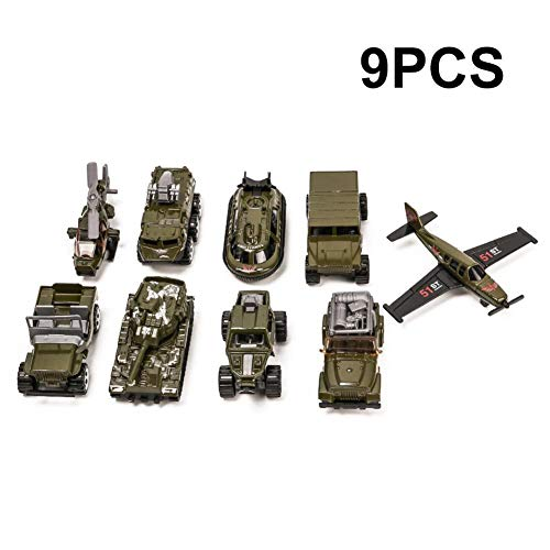 9pcs militar vehículos de juguete para niños, Mini helicóptero de ejército de aleación/fighter / coche del tanque/Jeep X2 lucha contra vehículo/off-road Vehicle/missile coche/submarino modelo Toy