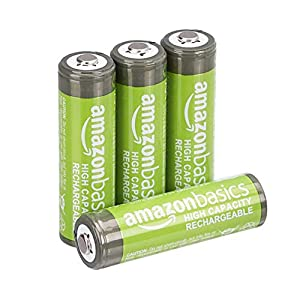 AmazonBasics AA High-Capacity Ni-MH Rechargeable Batteries (2400 mAh), Pre-charged – Pack of 4