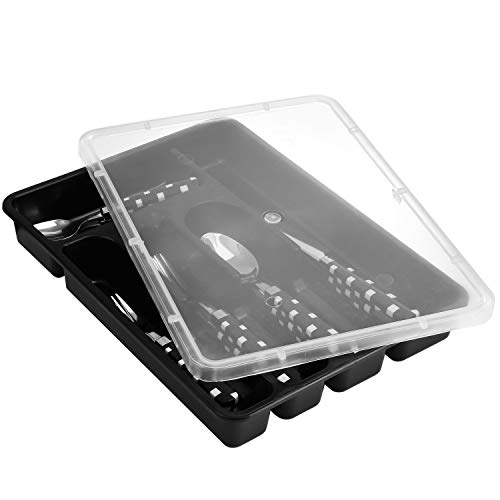 Zilpoo Flatware Plastic Tray with Lid, Camping Cutlery and Utensil Holder Travel Organizer, 5 Compartment Kitchen Silverware Storage Bin with Covered Top, Black