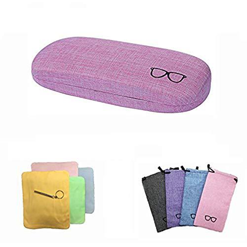 ITOMTEハードケース メガネケース 亜麻素材 かわいい 眼鏡ケース おしゃれ シンプル硬いケース 高級メガネケース クリーニングクロス マイクロファイバー メガネスマホレンズ拭きクロス(ピンク)