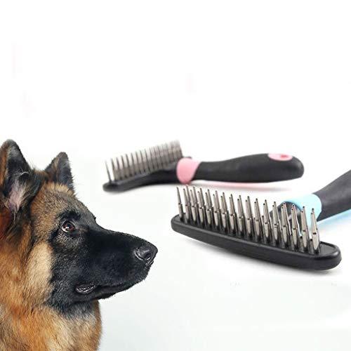 dedepeng Hundebürste Zweireihig Pins Professional Pet Vorst Rake Hunde Katzen Kamm, Bürste Loosen Nass Trocken Verwenden Grooming Pet Supplies Dematting Kamm