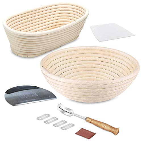 Bread Art - Bread Proofing Basket set round and oval banneton basket top-Grade Artisan Bread Banneton proofing basket kit with Cloth Liners, 2 Dough Scrapers & Bread Lame for Home & Professional use