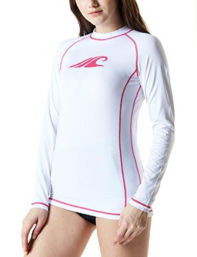 TSLA Women's UPF 50+ Rash Guard Long Sleeve, UV/Sun Protection Swim Shirts, Water Beach Surf Swimsuit Top, Coastal Tide Print(fsr24) - White, X-Small