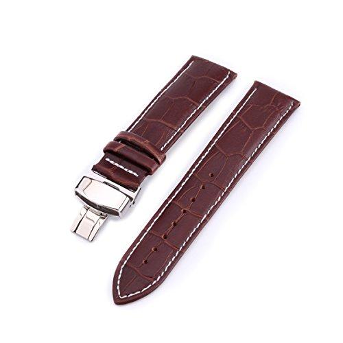 NICERIO Correa de reloj de cuero de 22 mm con cierre de mariposa para reemplazo de banda de reloj tradicional o inteligente (marrón con líneas blancas)