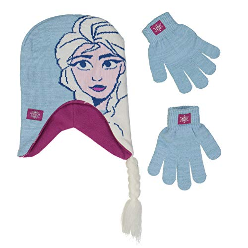 Disney Frozen Girls Winter Hat and Gloves Cold Weather Set, Age 4-7